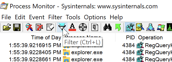 Process Monitor Filter Box