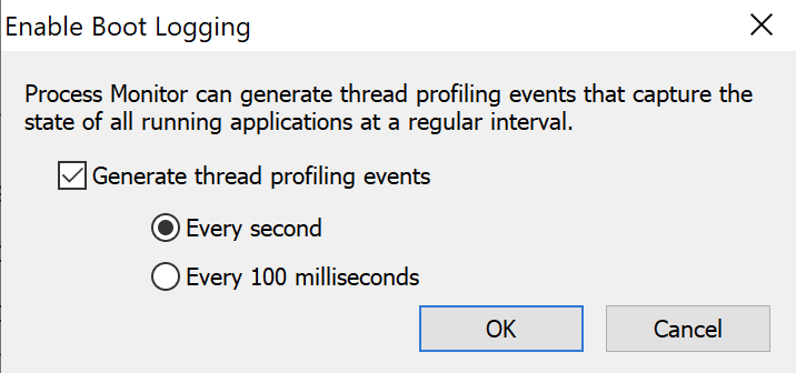 Enabling thread profiling events on boot