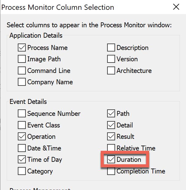 Process Monitor Column