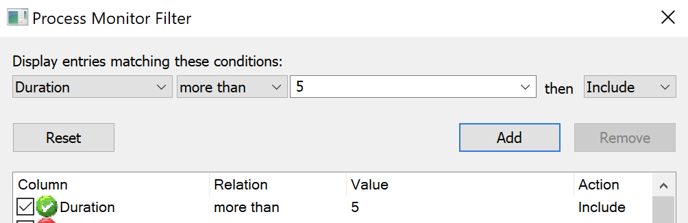 filter rule on Duration