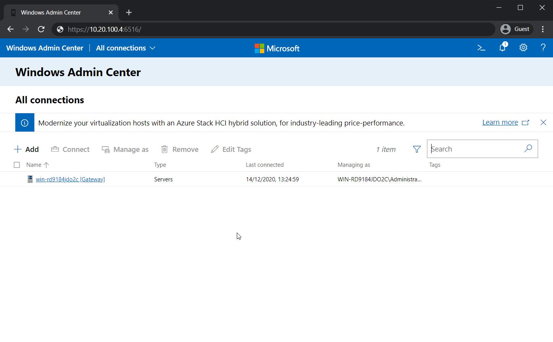 The Server Chooser in Windows Admin Center