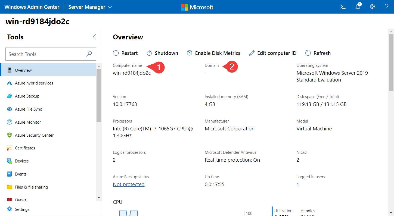 The main Dashboard of Windows Admin Center