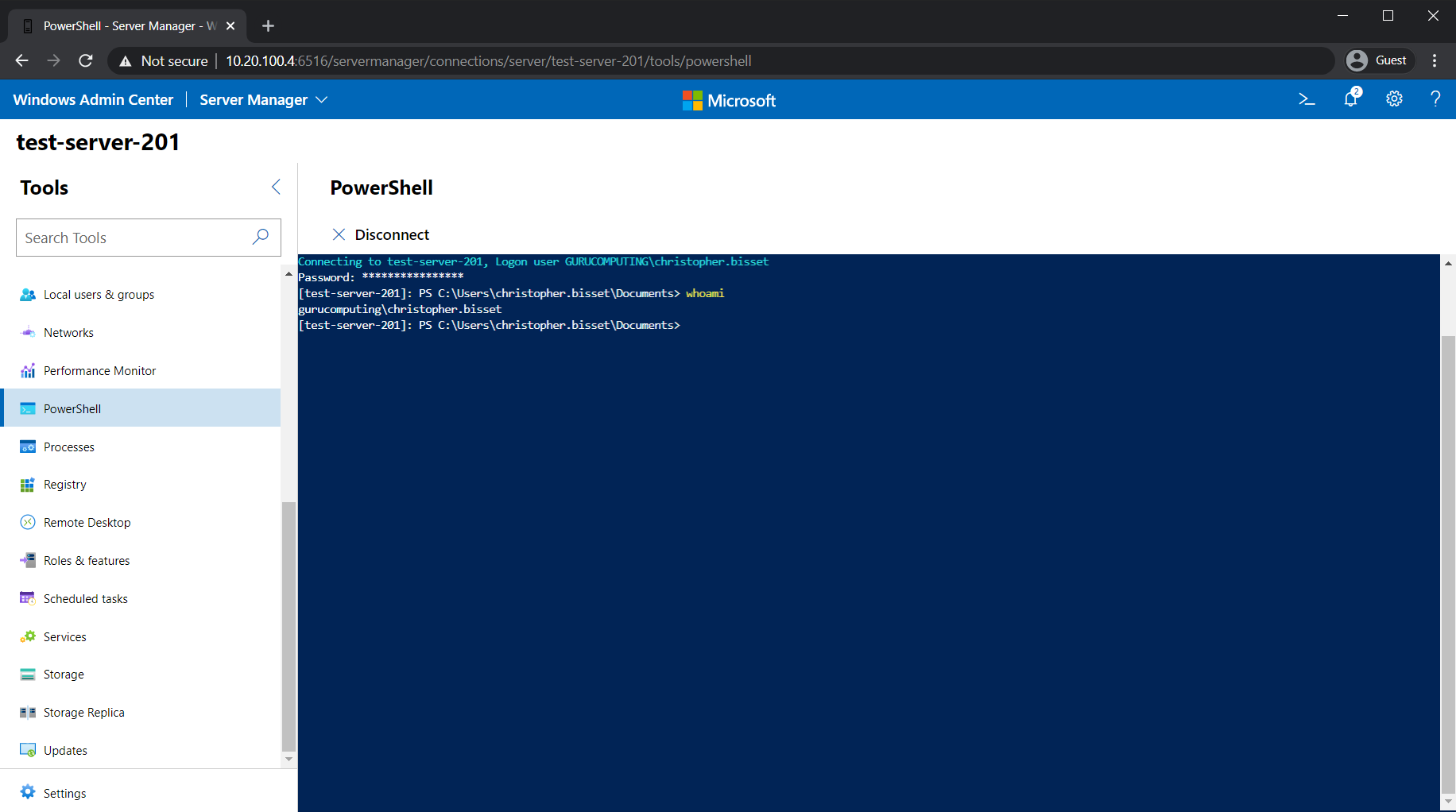 The PowerShell console within the browser