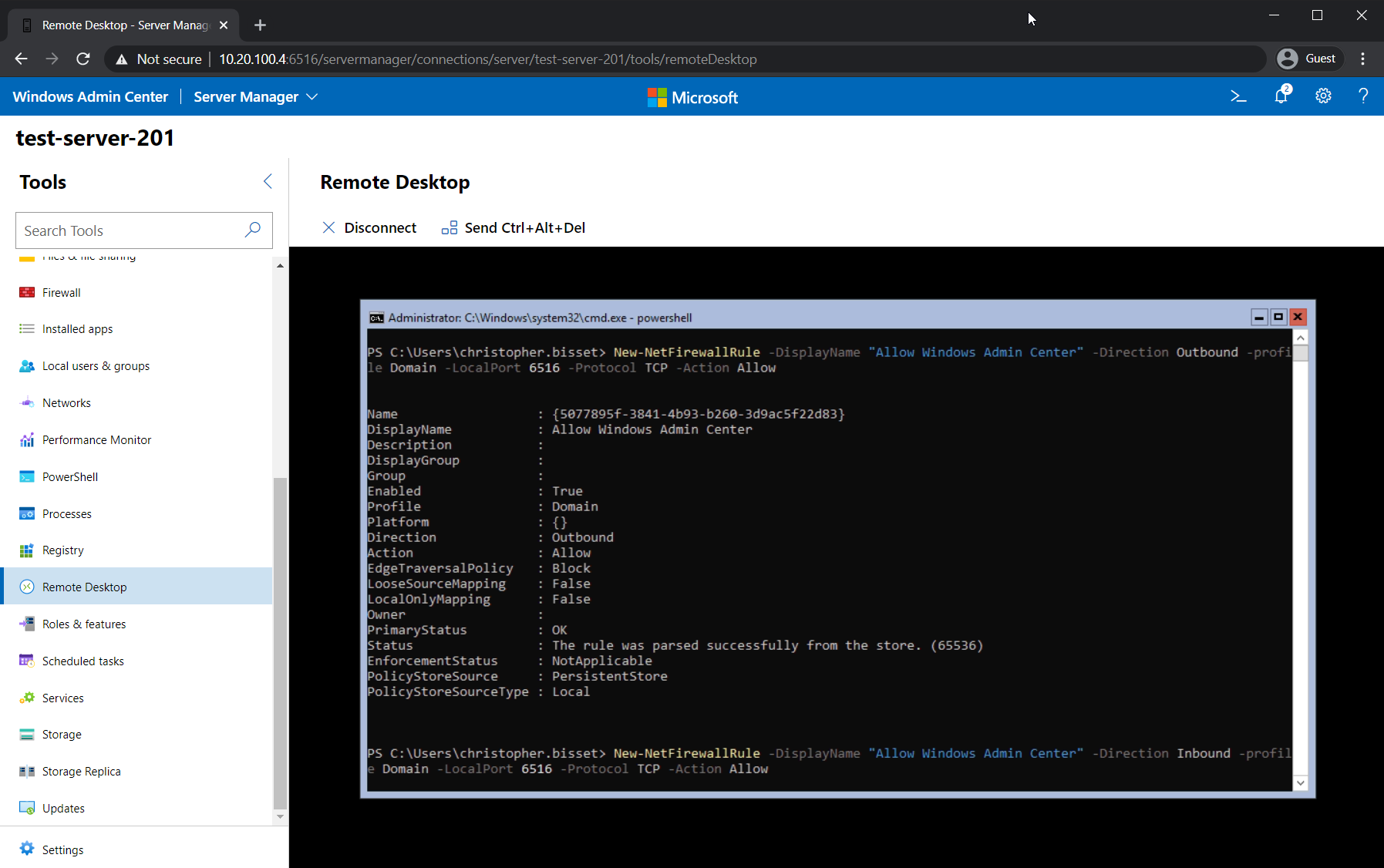 Viewing the remote desktop of Server Core 2019 (it is not very interesting as Server Core 2019 has no GUI)