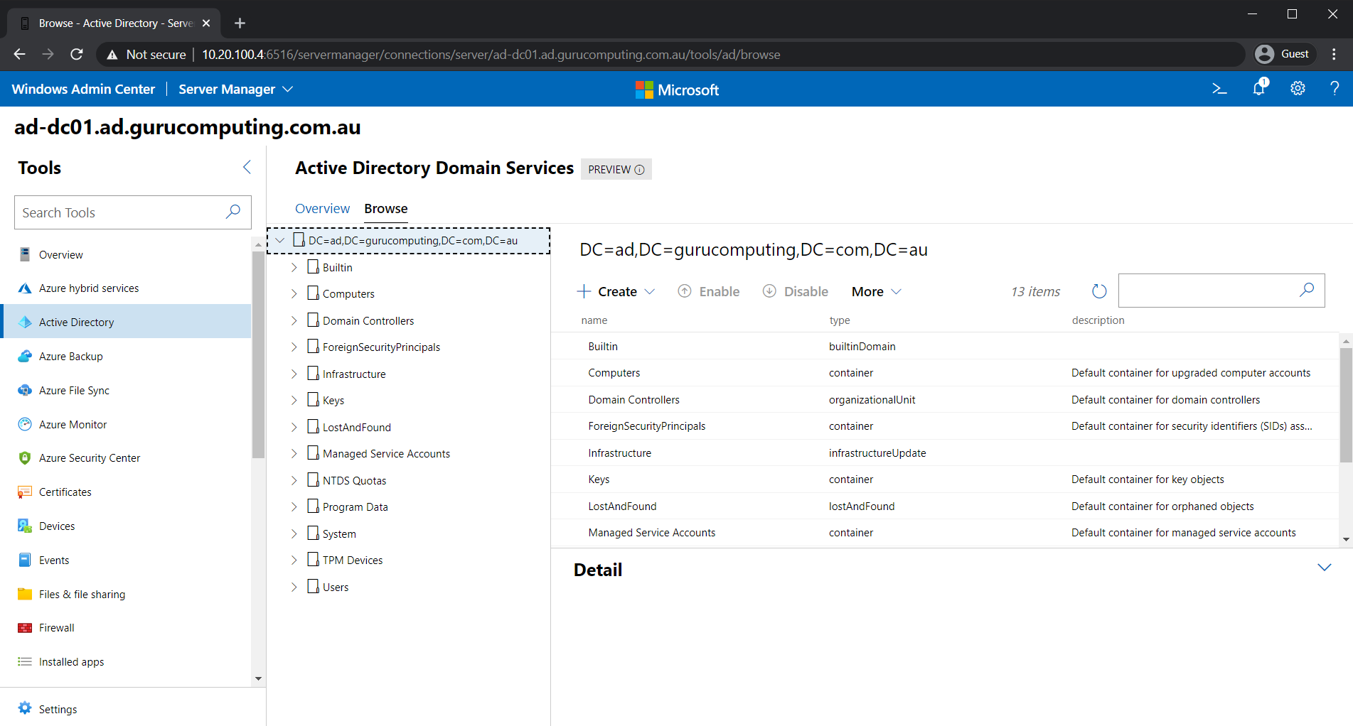 Browsing OUs in the Active Directory Extension