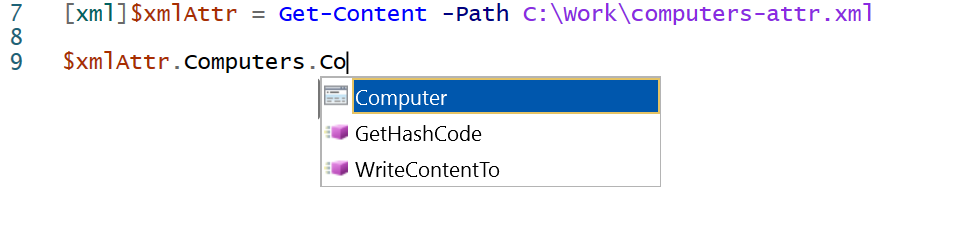 IntelliSense and tab completion for XML object