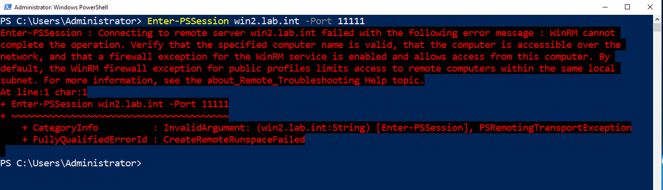 Failed WinRM connection due to Windows firewall