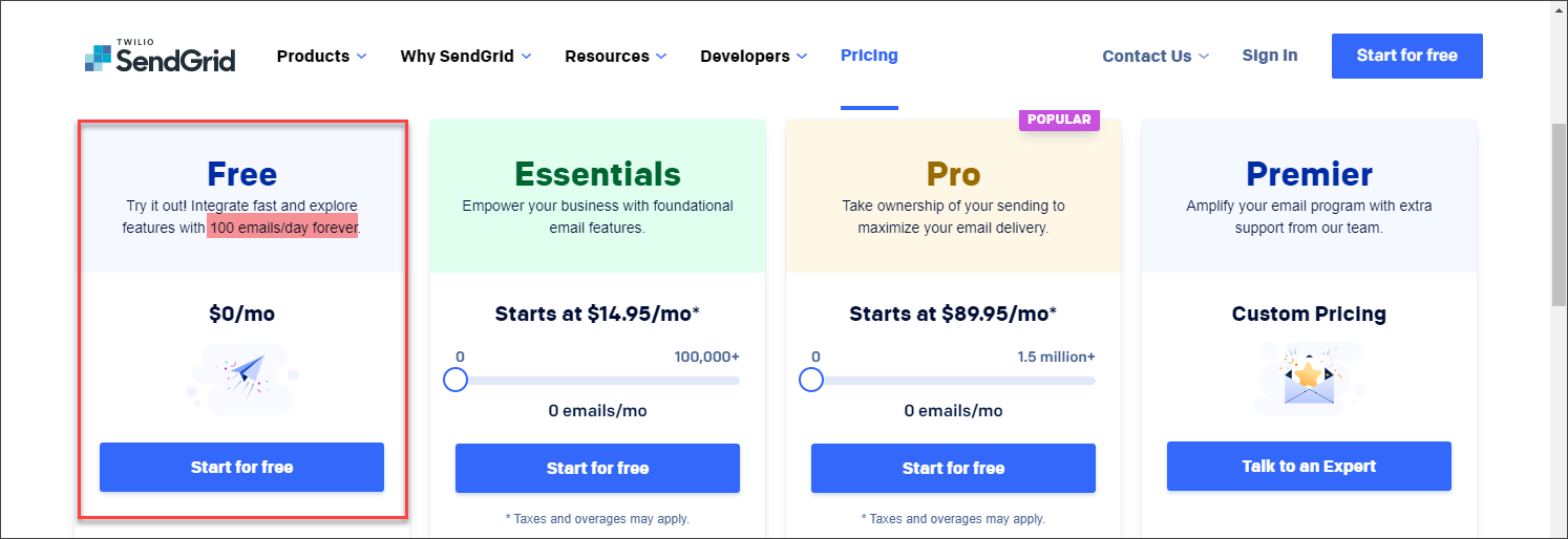 SendGrid pricing plans