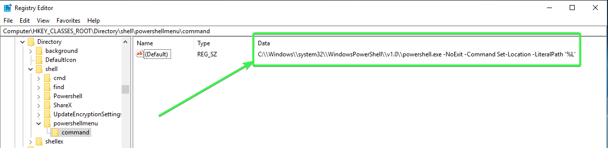 Complete context menu registry key entry for open powershell here option.