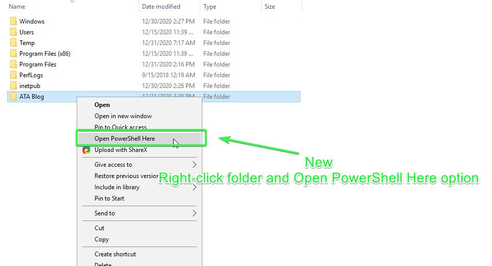 Open PowerShell Here context menu