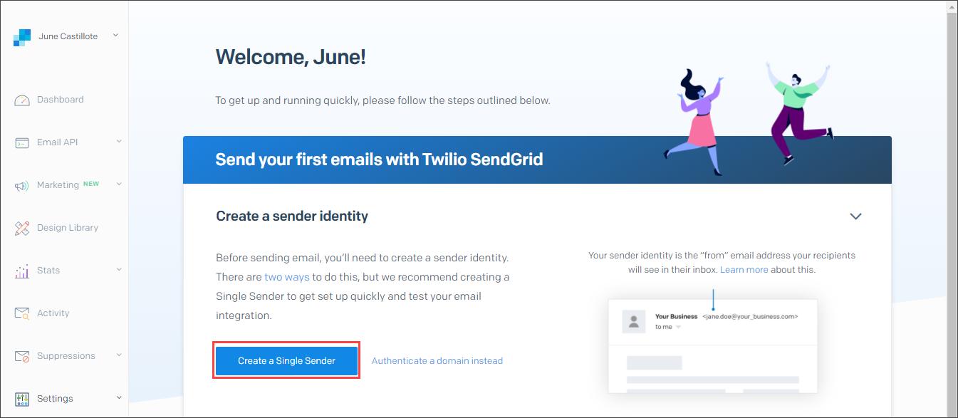 Creating a single sender
