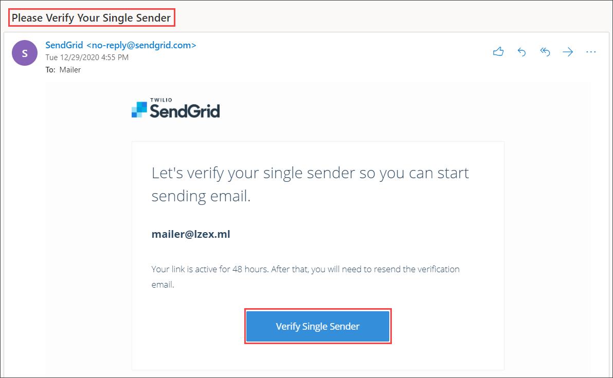 Verifying the Single Sender address