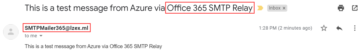 Confirming the Office 365 SMTP relay test message was delivered