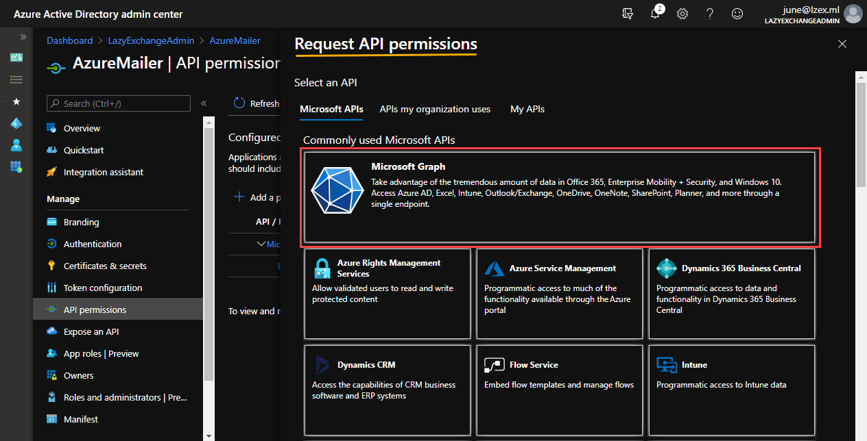 Selecting Microsoft Graph API