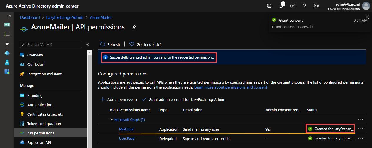 Confirming the API permission status