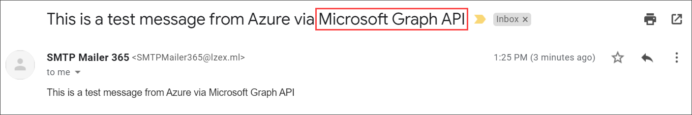 Confirming the Microsoft Graph API test message was delivered