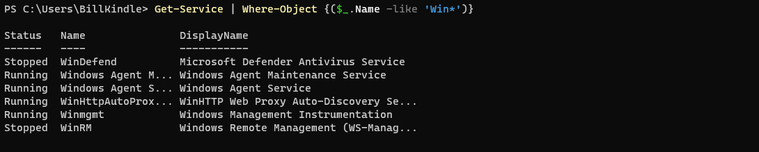 service names with 'Win'