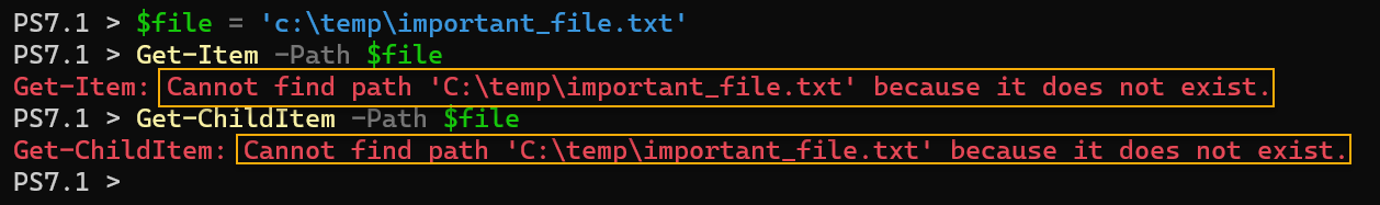 Using Get-Item and Get-ChildItem in PowerShell to check if a file exists