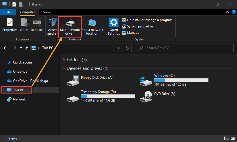 Clicking on Map network drive