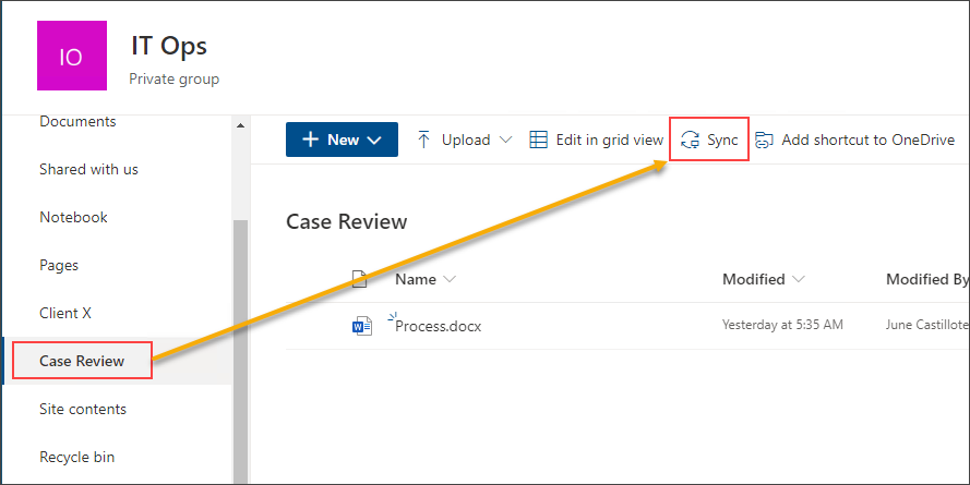 Syncing a SharePoint document library