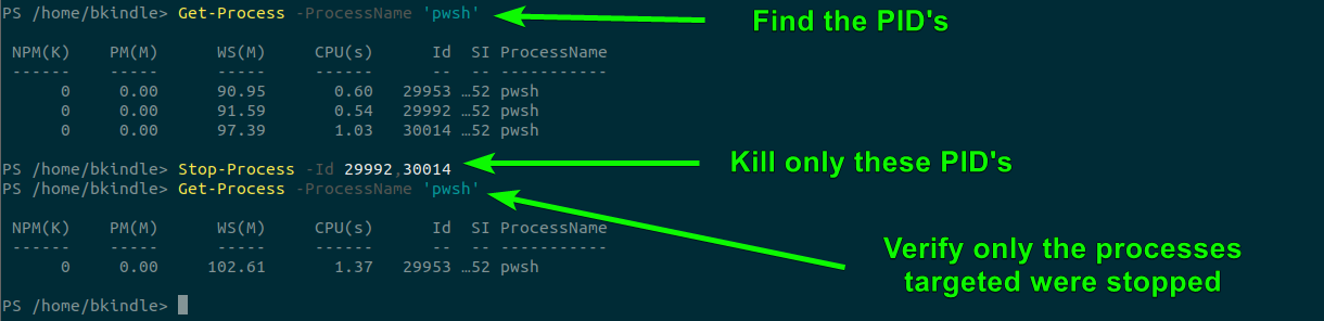 Using PowerShell, Stop-Process to kill processes in Linux.