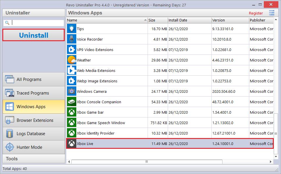 Uninstalling Windows Apps