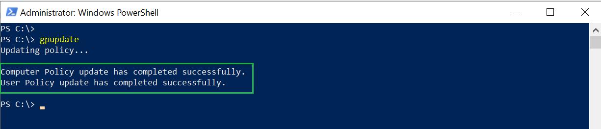 Gpupdate applies computer settings before the user settings.