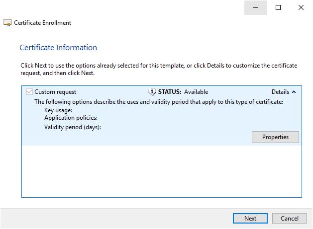 Creating a custom certificate request.