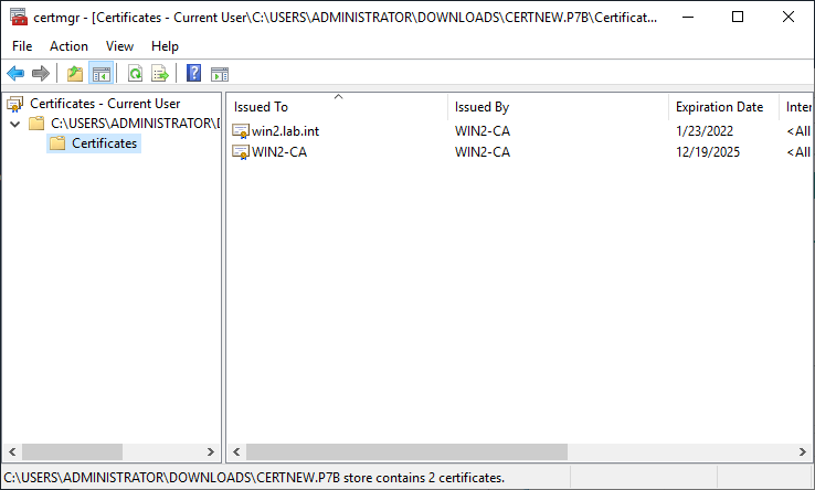 Showing certificates inside of the certificate chain.