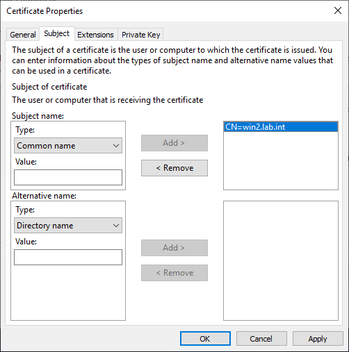 Specifying subject for certificate request.