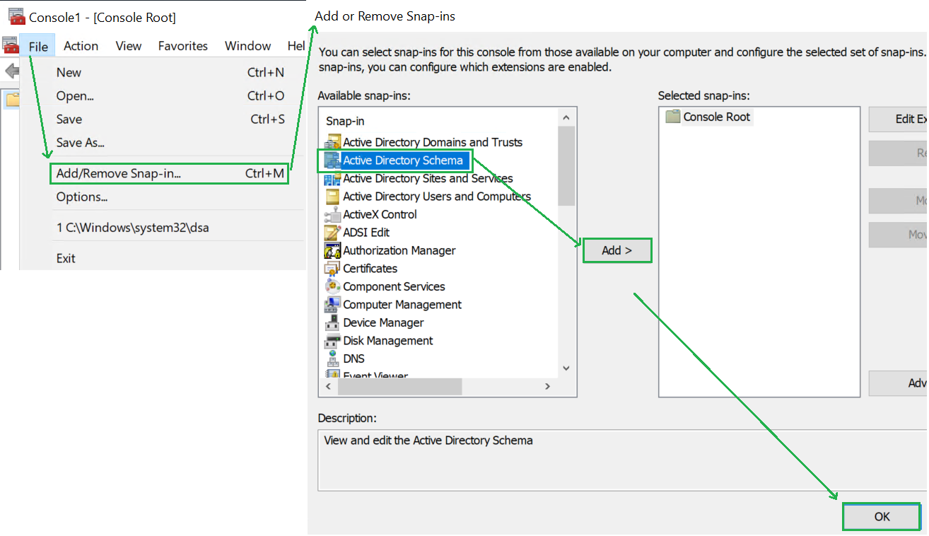Add the Active Directory Schema in the MMC console
