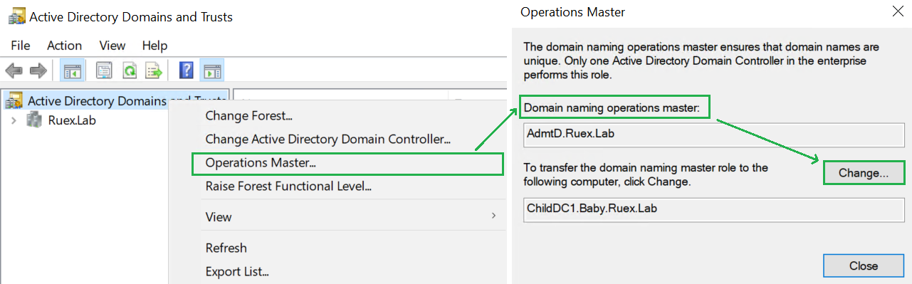 Transferring the domain naming master FSMO role