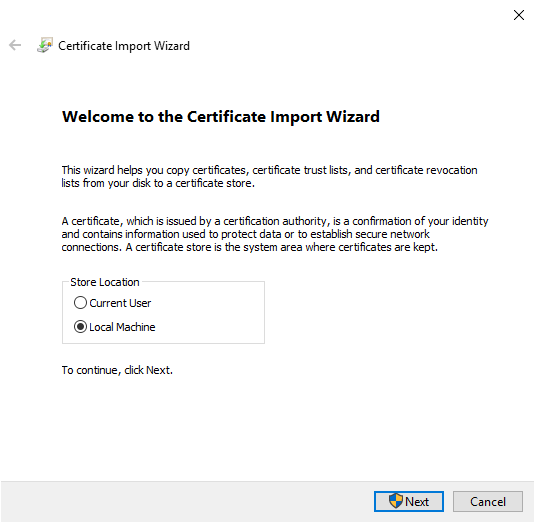 Importing certificate into the local machine certificate store.