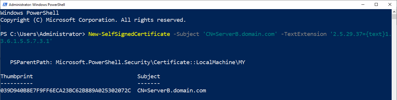 Creating self-signed certificate.