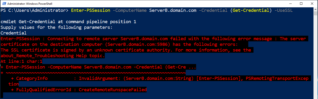Failing certificate authority trust check with self-signed certificate.