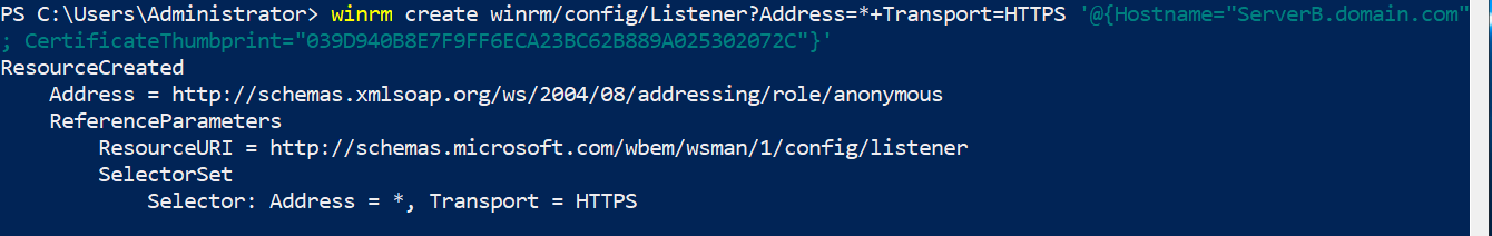 Creating WinRM listener with self-signed certificate.