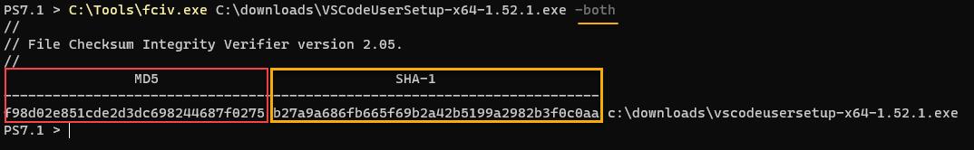 Computing both MD5 and SHA-1 checksum using fciv.exe.