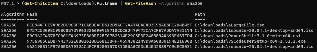 Using Get-ChildItem and Get-FileHash to compute the hash values for each file in a folder.