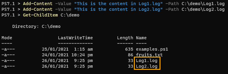 Creating test .log files using Add-Content.