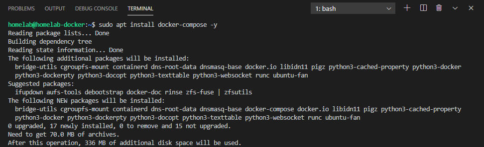 The installation command for Docker Compose