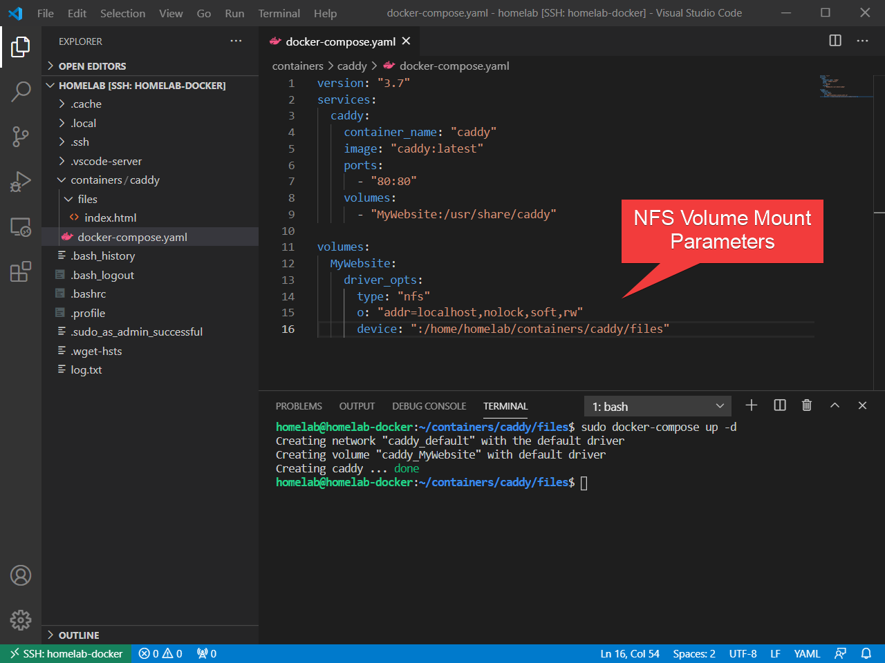 Setting NFS client settings within Docker Compose in VS Code