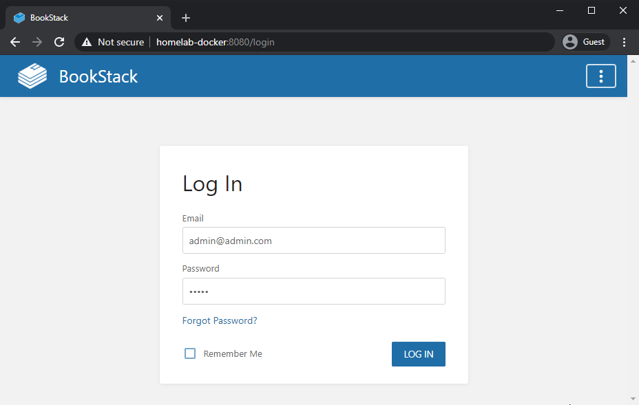 The bookstack welcome screen. Default login is admin@admin.com/password