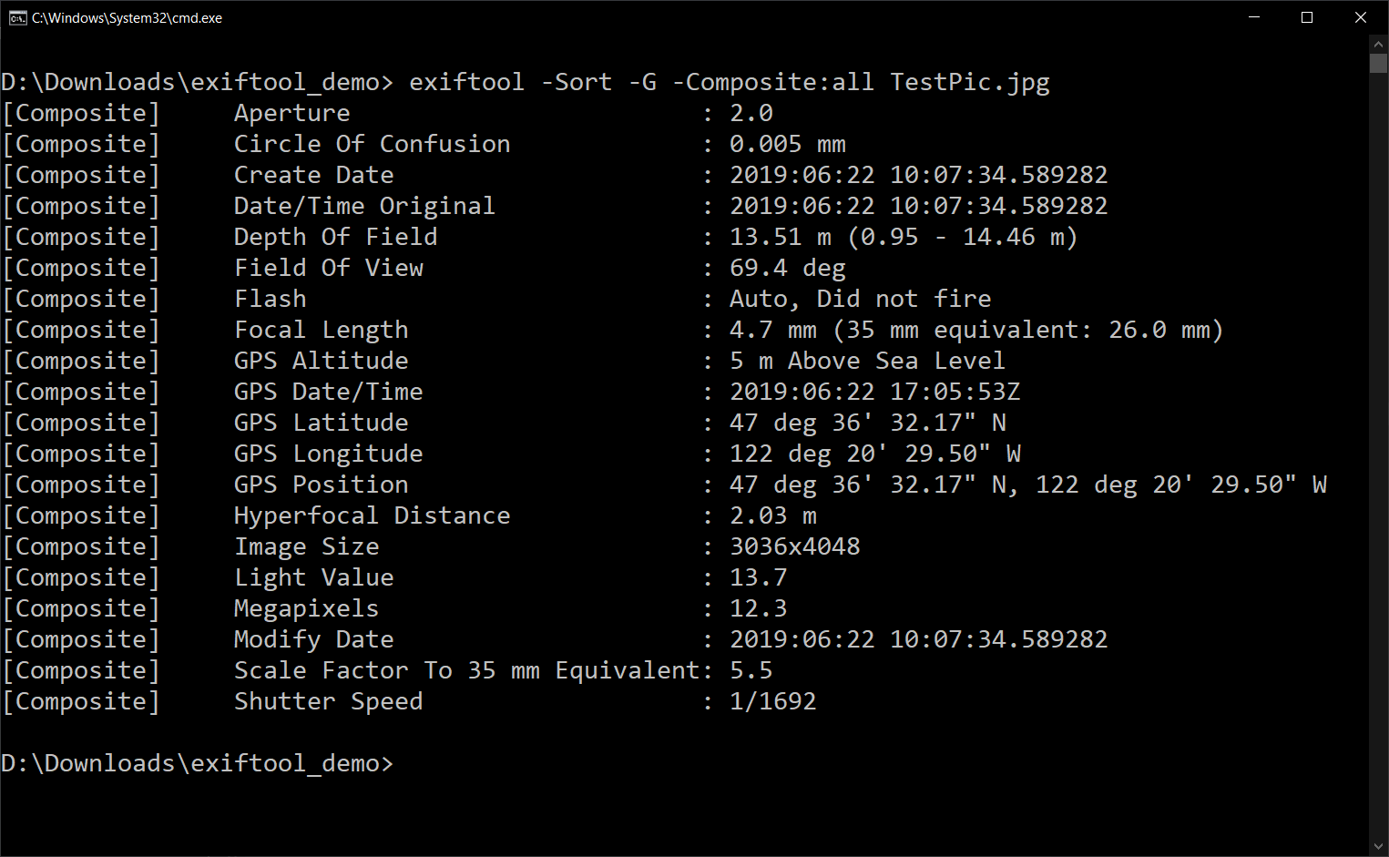 Using -sort with the command from the previous section.
