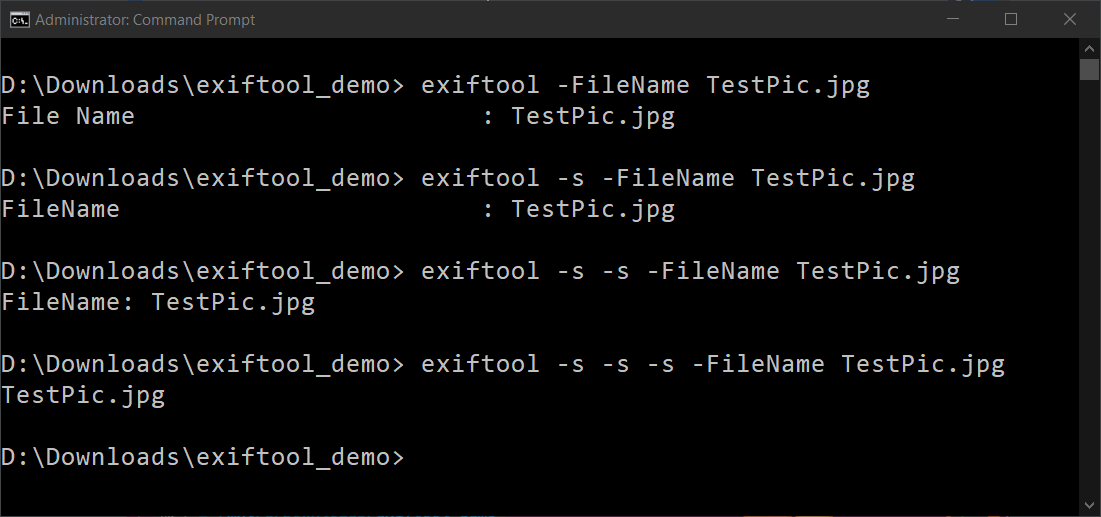 Each time you add -s, you are changing the output of exiftool