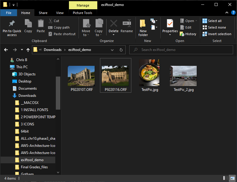 These are the pictures used for this section as shown in Windows Explorer