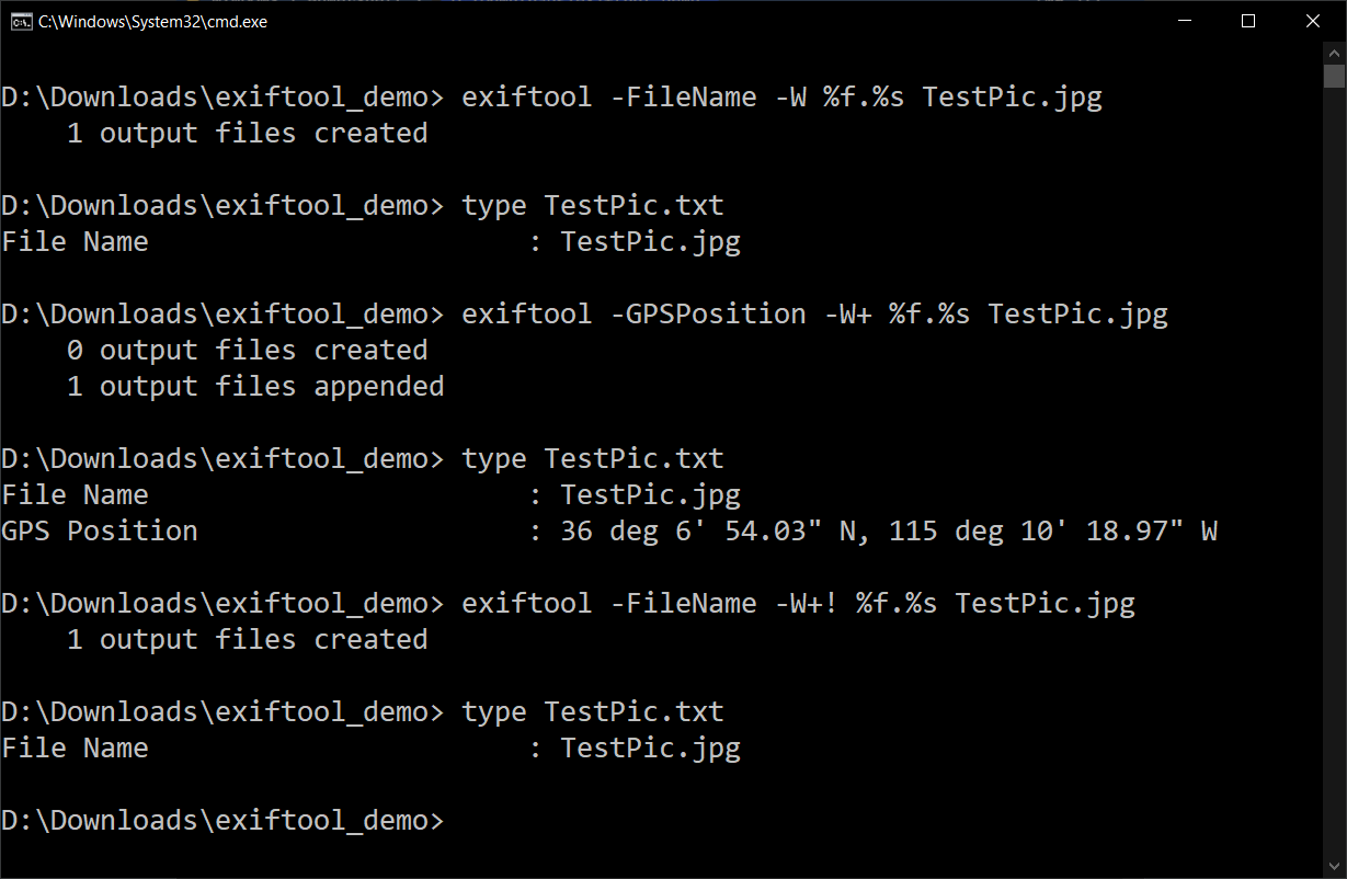 An output file being appended to and overwritten with -W+ and -W+!