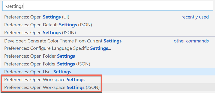 Opening workspace settings
