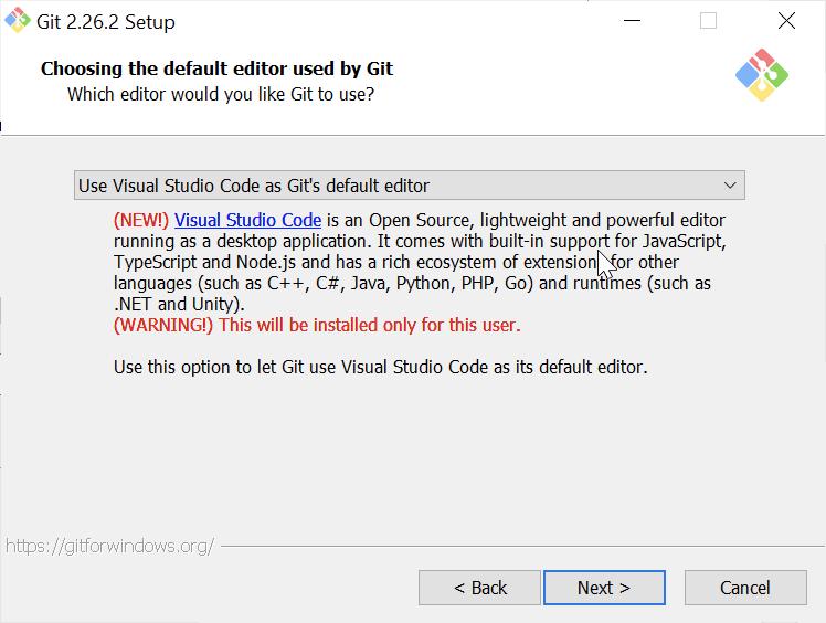 Default editor for Git