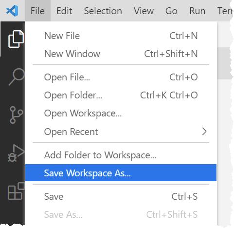Saving a VS Code workspace