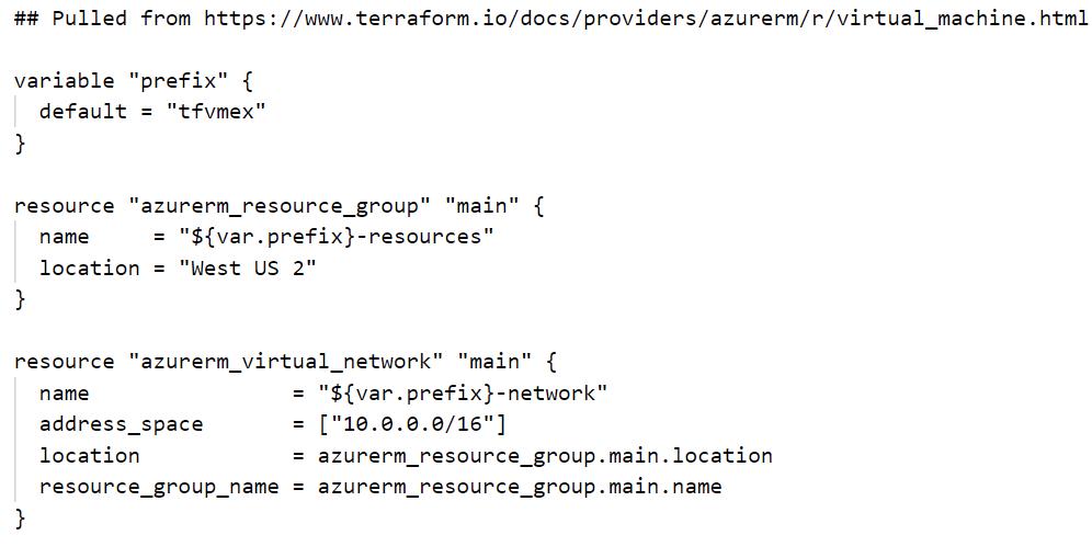 No syntax highlighting for a Terraform configuration file